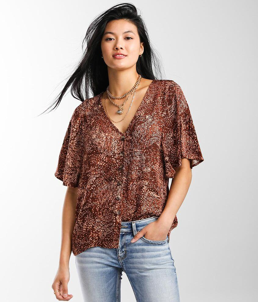 Daytrip Printed V-Neck Blouse front view