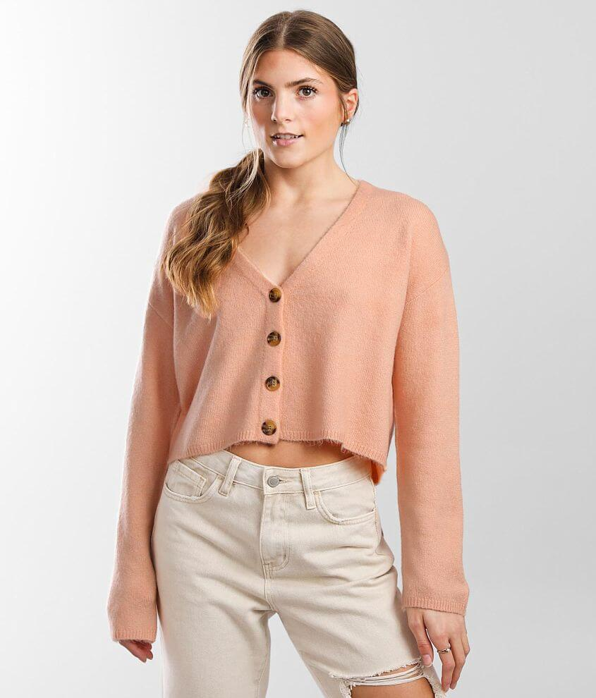 Billabong Short N Sweet Cropped Cardigan Sweater front view