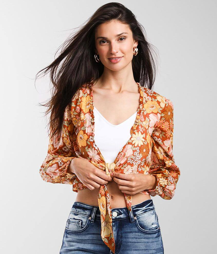 Billabong Float On Floral Cropped Top front view