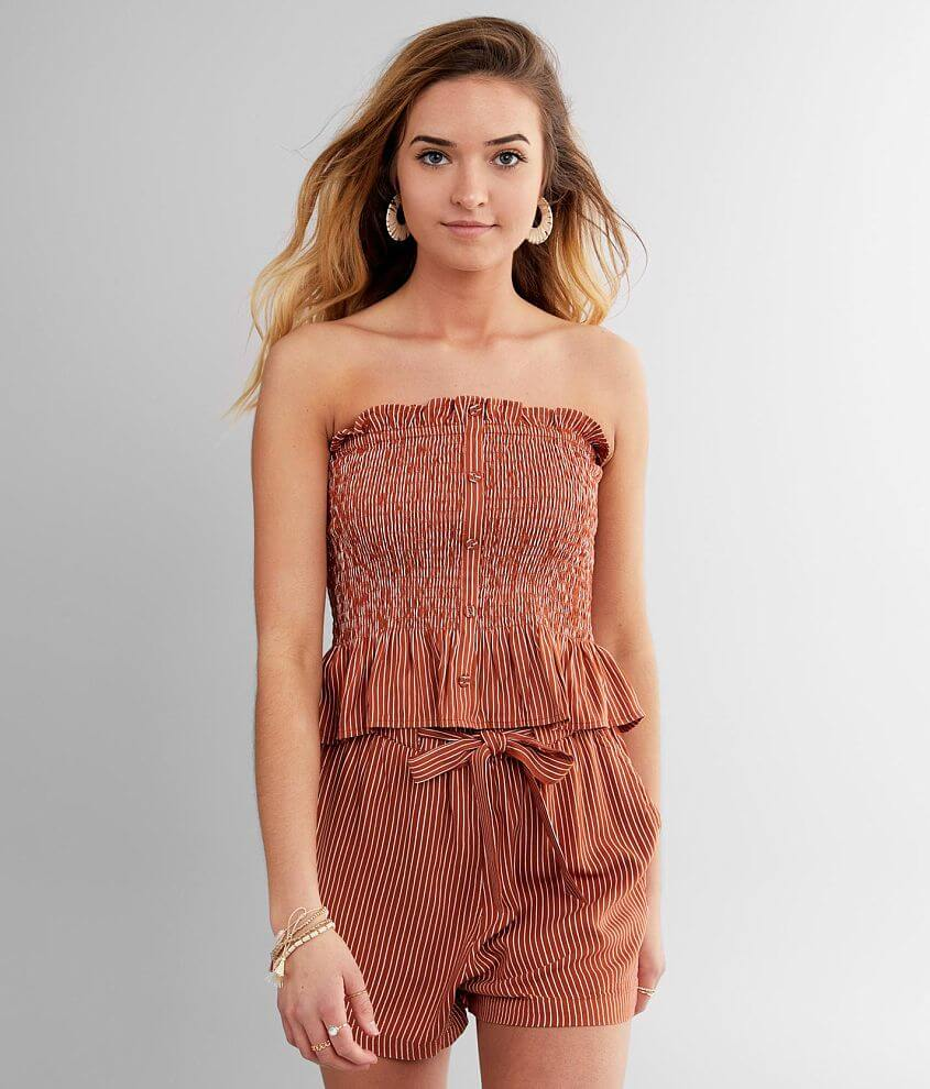 Billabong Well Grounded Smocked Tube Top front view