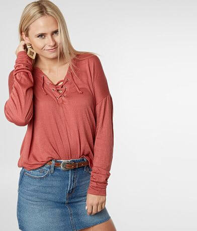 a85817319602 Billabong Anytime Lace-Up Top