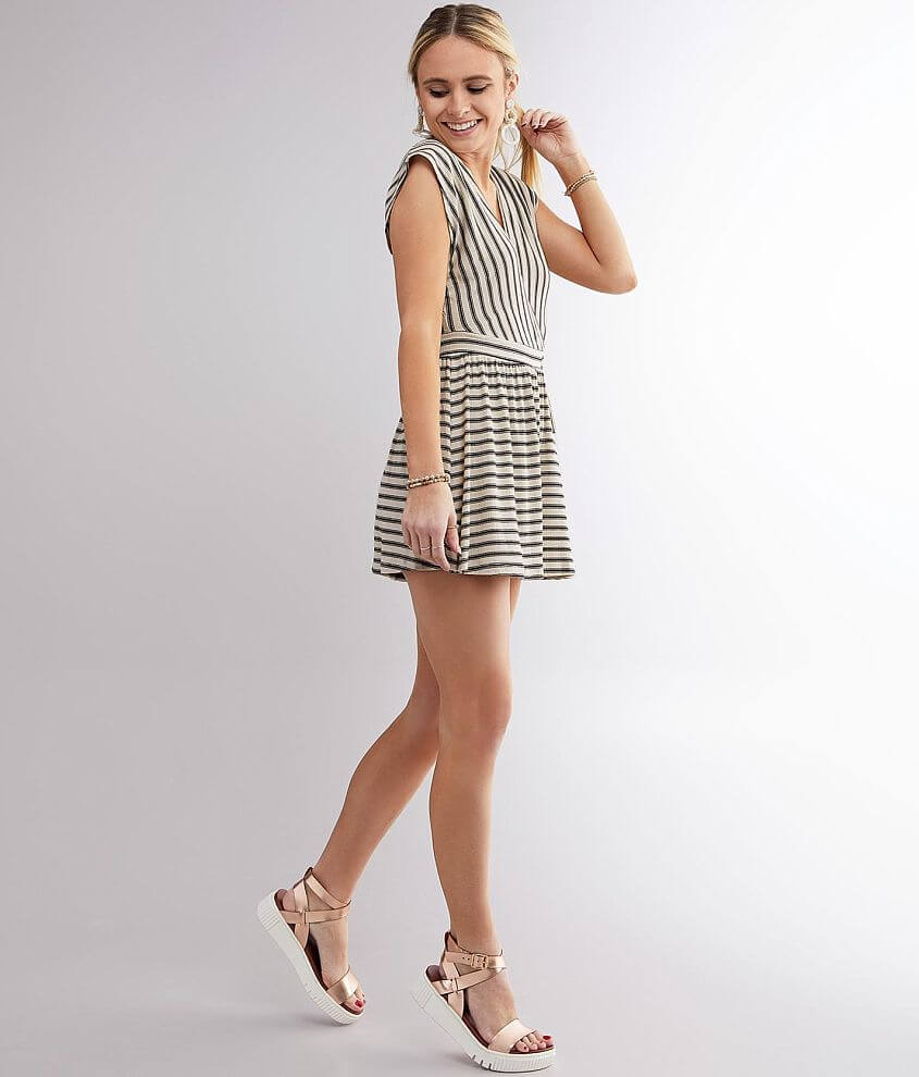 Billabong Easy Day Striped Romper front view