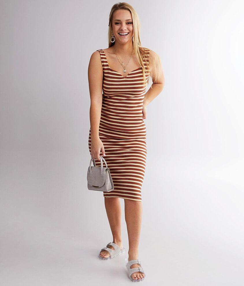 Billabong Night Magic Striped Midi Dress front view