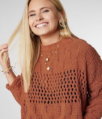 Billabong On The Horizon Cropped Chenille Sweater