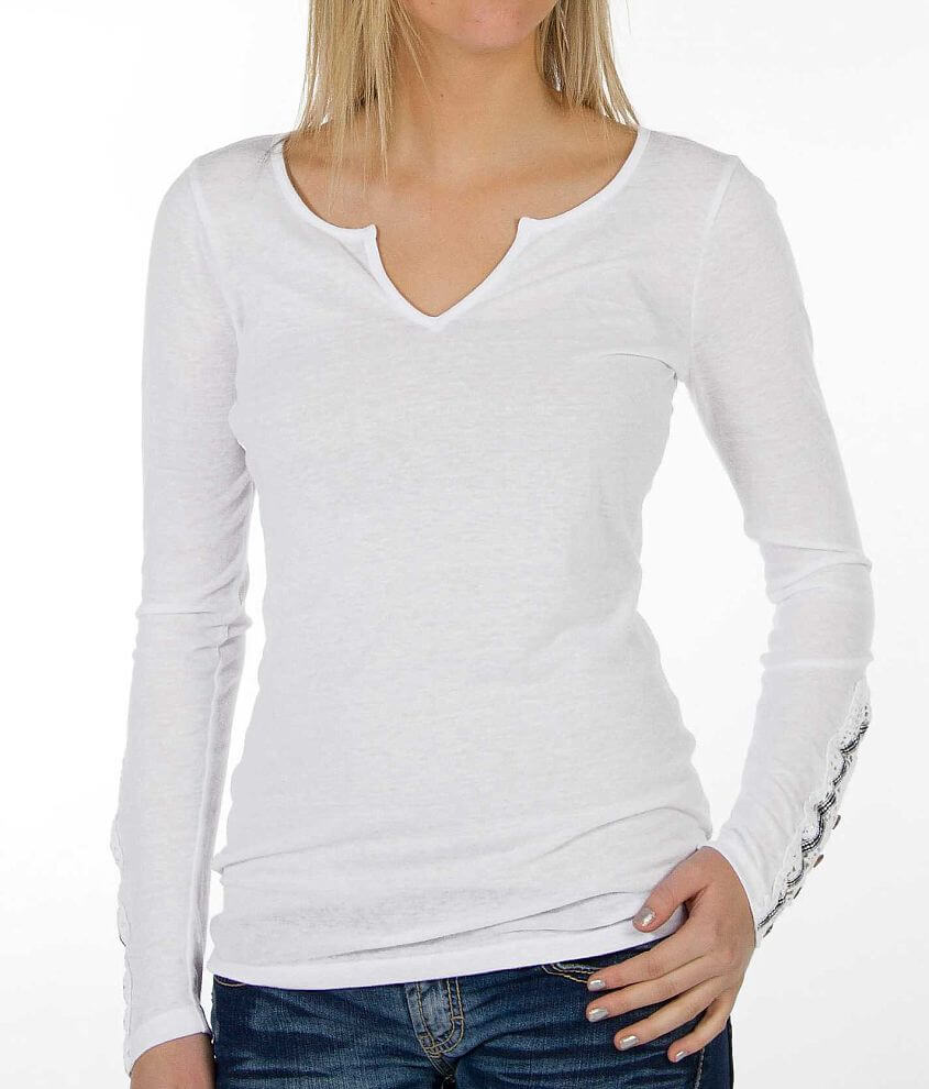 BKE Pieced Sleeve Top front view
