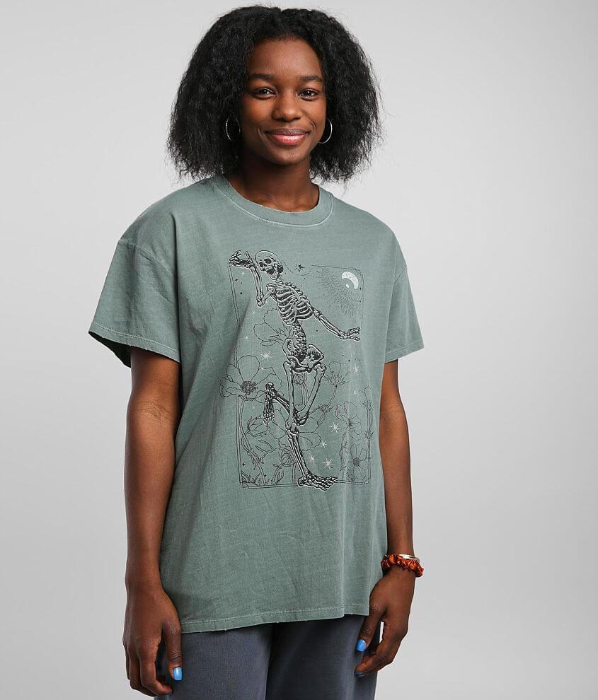 Modish Rebel Flower Pickin' Skeleton T-Shirt front view