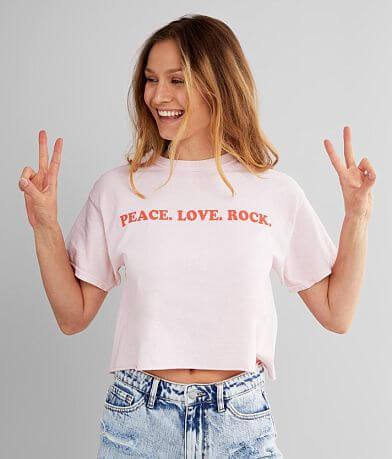 Modish Rebel Peace Love Rock Cropped T-Shirt