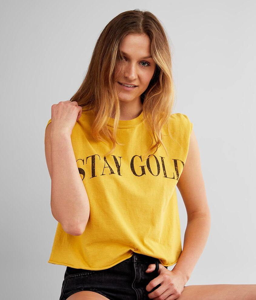Modish Rebel Stay Gold Cropped T-Shirt front view