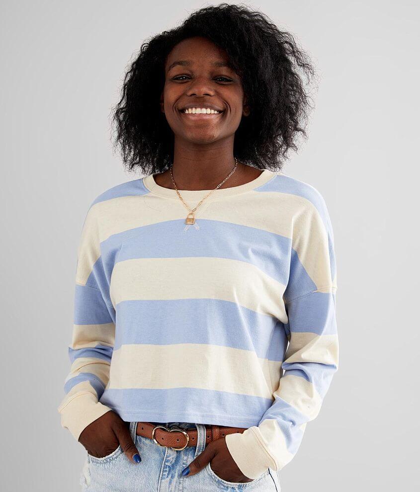 FITZ + EDDI Striped Drop Shoulder T-Shirt front view