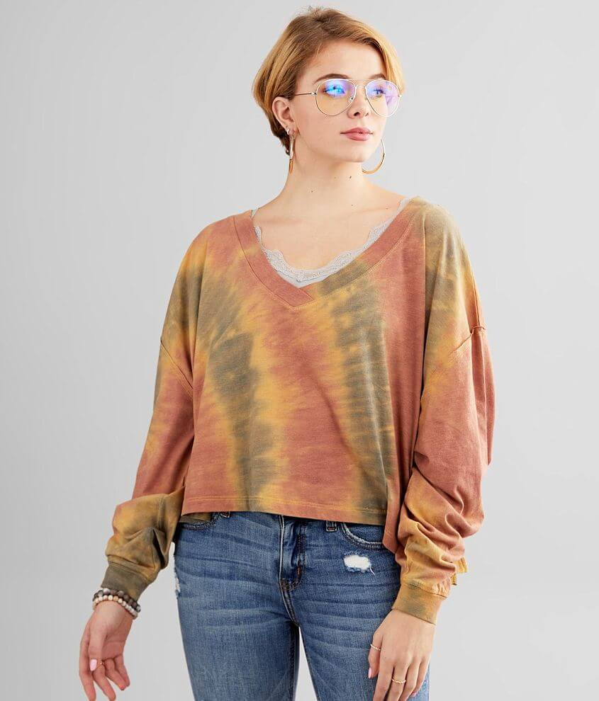 Gilded Intent Tie Dye Cropped T-Shirt front view