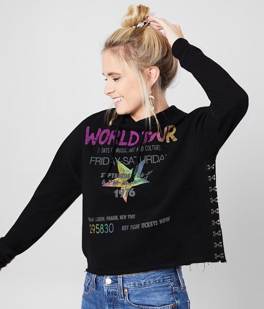 The Vinyl Icons World Tour Cropped Hoodie front view