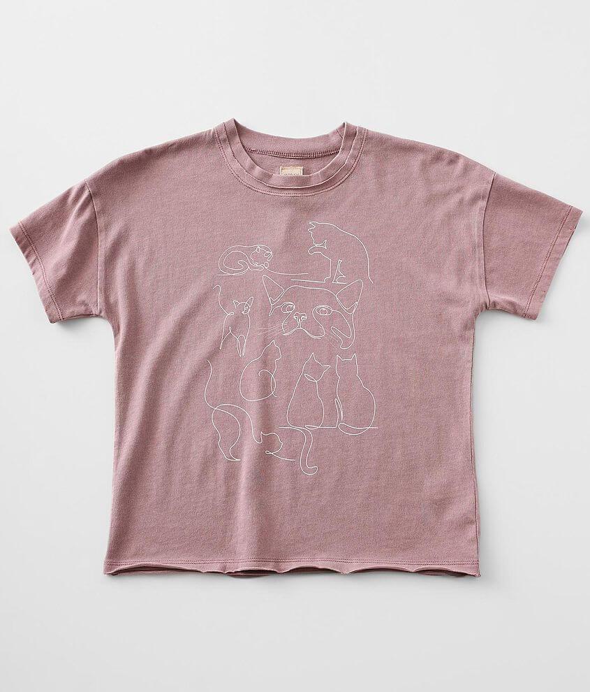 Girls - Modish Rebel Cat Line Art T-Shirt front view