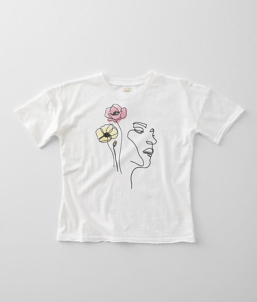 Girls - Modish Rebel Floral Face T-Shirt front view