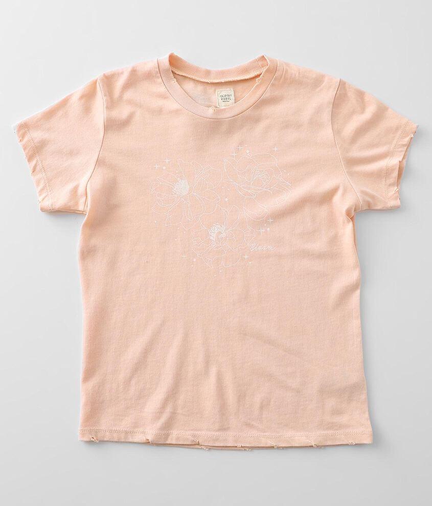 Girls - Modish Rebel Blooming Flowers T-Shirt front view