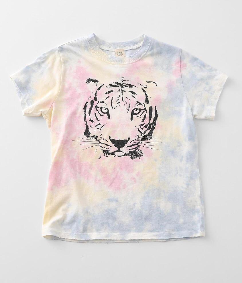 Girls - Modish Rebel Tie Dye Tiger T-Shirt front view