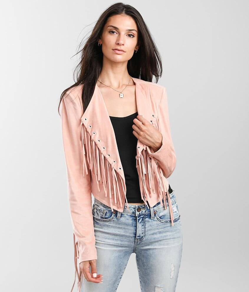 Willow & Root Fringe Cropped Jacket front view
