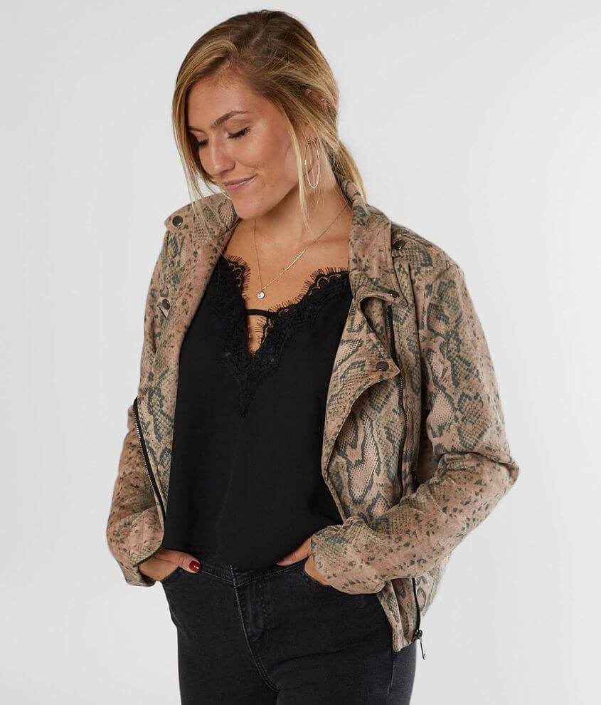 Willow & Root Faux Suede Snakeskin Jacket front view
