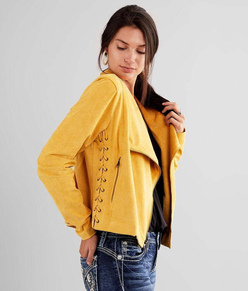 Willow & Root Faux Suede Moto Jacket front view