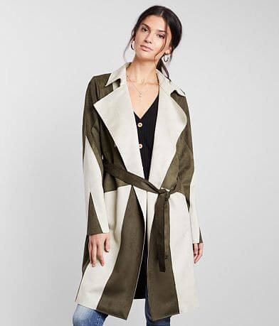Buckle Black Patchwork Belted Trench Jacket