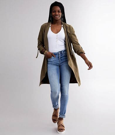 BKE Faux Suede Trench Jacket