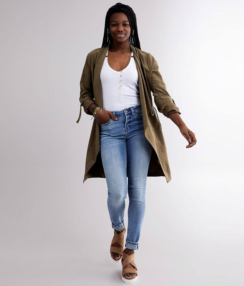 BKE Faux Suede Trench Jacket front view