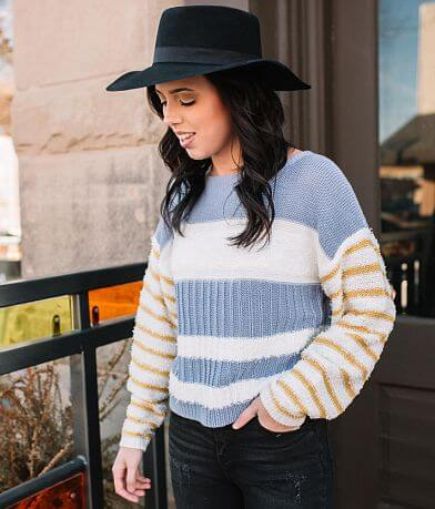 Willow & Root Fuzzy Striped Sweater