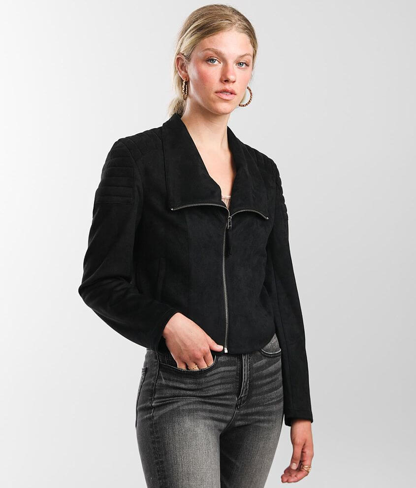 BKE Faux Suede Moto Jacket front view