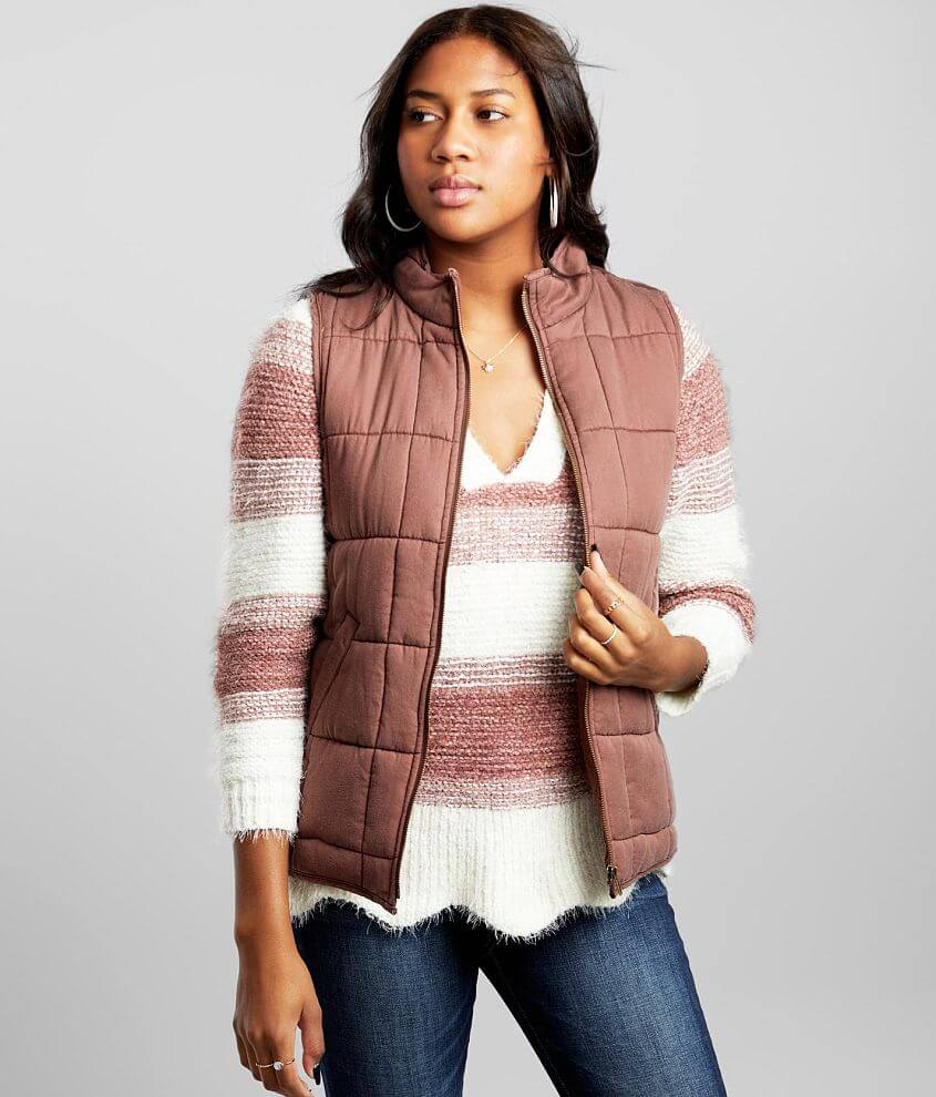 BKE Quilted Puffer Vest front view