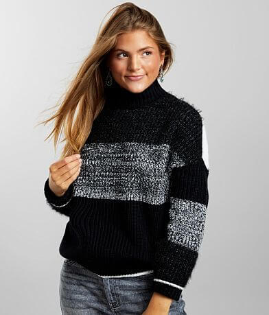 Willow & Root Striped Mock Neck Sweater