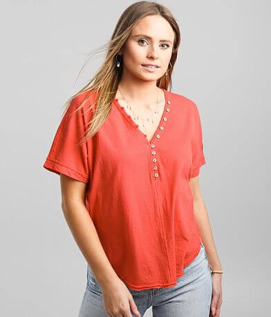 BKE Raw Edge V-Neck Henley T-Shirt