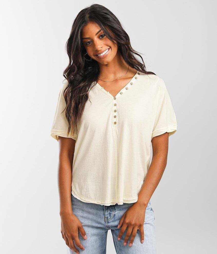 BKE Raw Edge Henley front view
