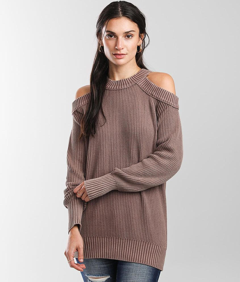 BKE Washed Cold Shoulder Sweater front view