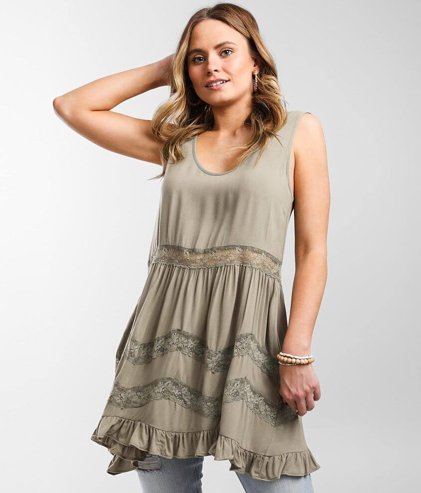 Daytrip Lace Inset Tunic Tank Top front view