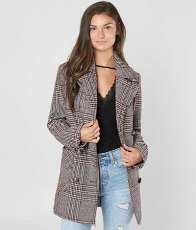 BKE Plaid Patterned Pea Coat