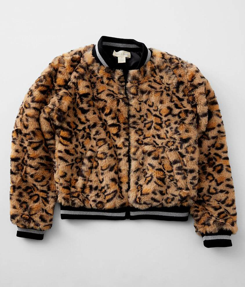 Girls - Jake & Anna® Faux Fur Bomber Jacket front view