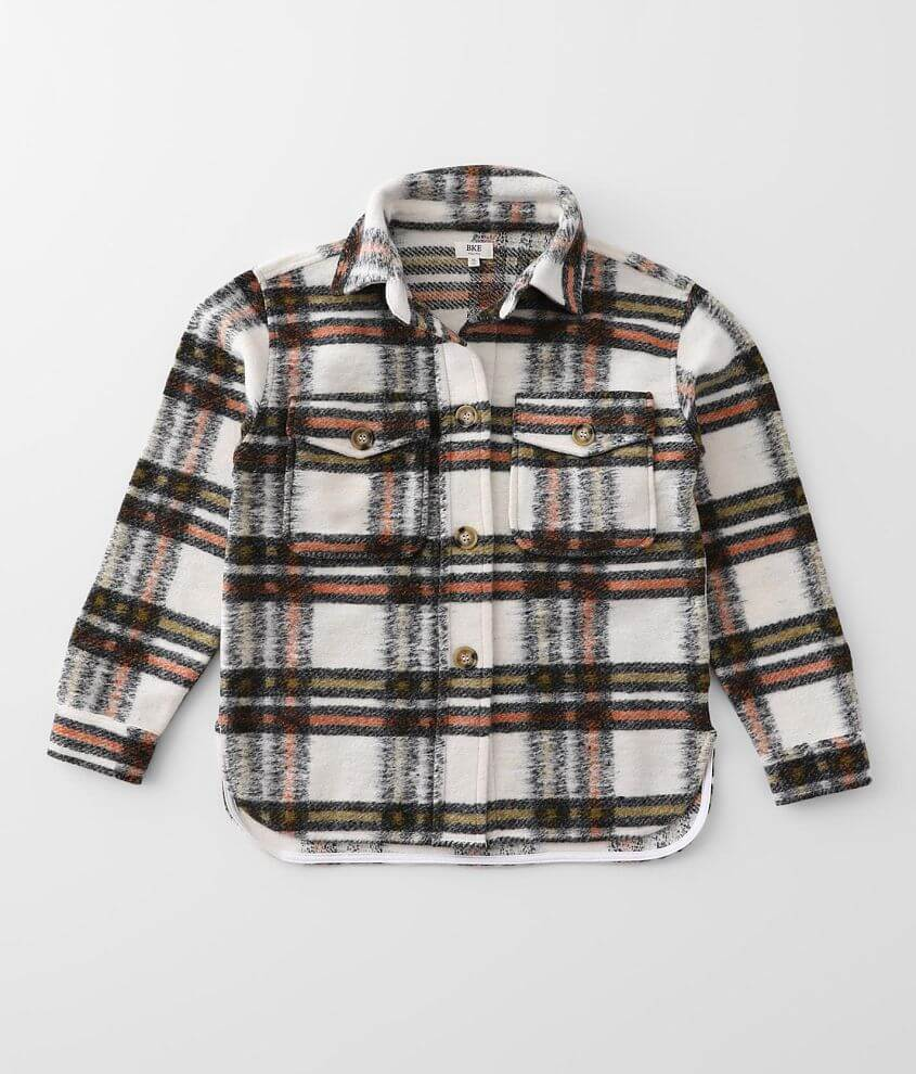Girls - BKE Flannel Shacket front view