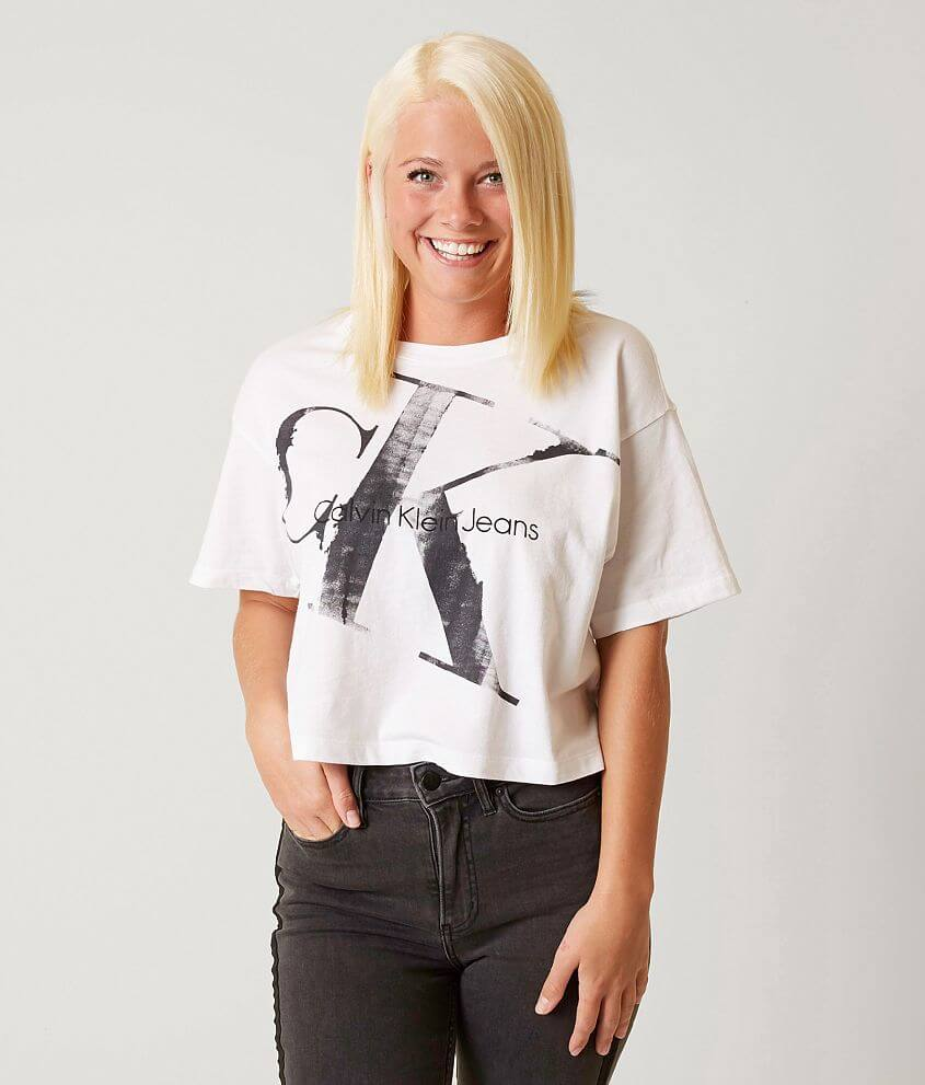 5c563ef17 Calvin Klein Cropped T-Shirt - Women's T-Shirts in Standard White ...