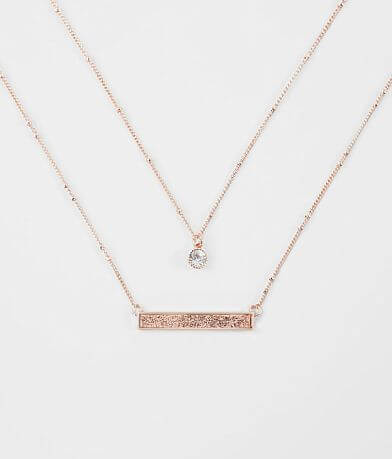 BKE Rhinestone Glitter Bar Necklace Set