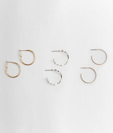 BKE Mixed Metal Hoop Earring Set