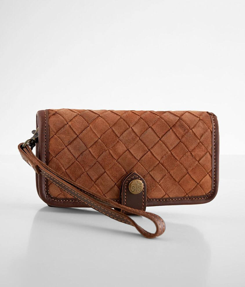 STS Basket Weave Leather Crossbody Wallet front view