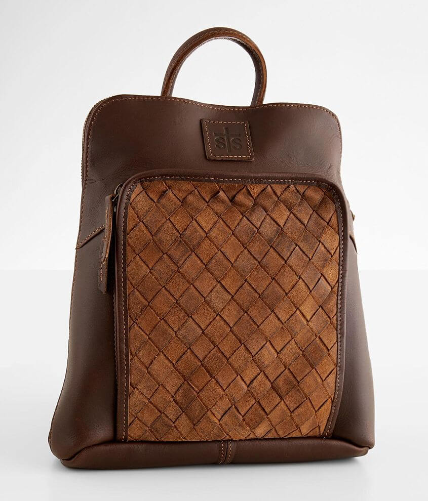 STS Basket Weave Leather Backpack front view