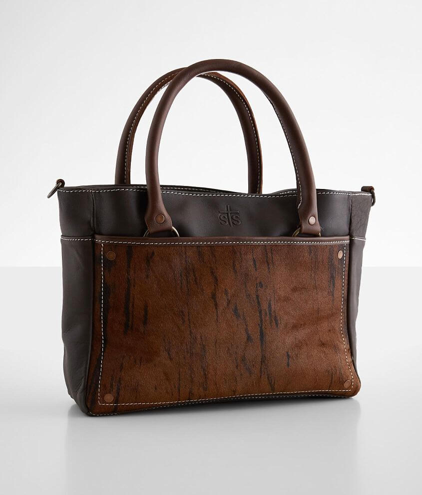 STS Brindle Cowhide Leather Satchel Purse front view