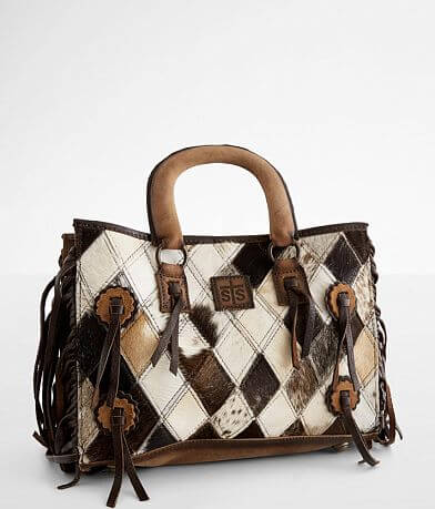 STS Diamond Cowhide Leather Satchel Purse