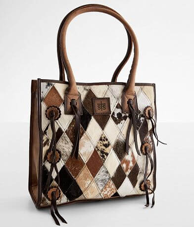 STS Diamond Cowhide Leather Tote Purse