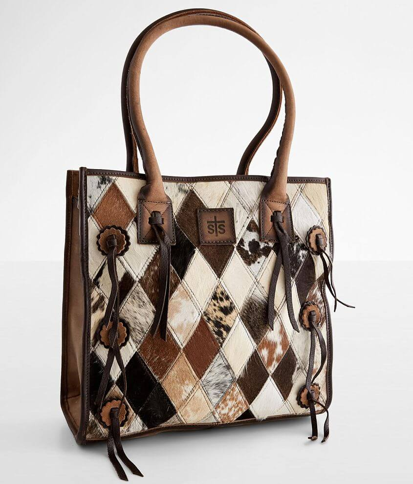 STS Diamond Cowhide Leather Tote Purse front view