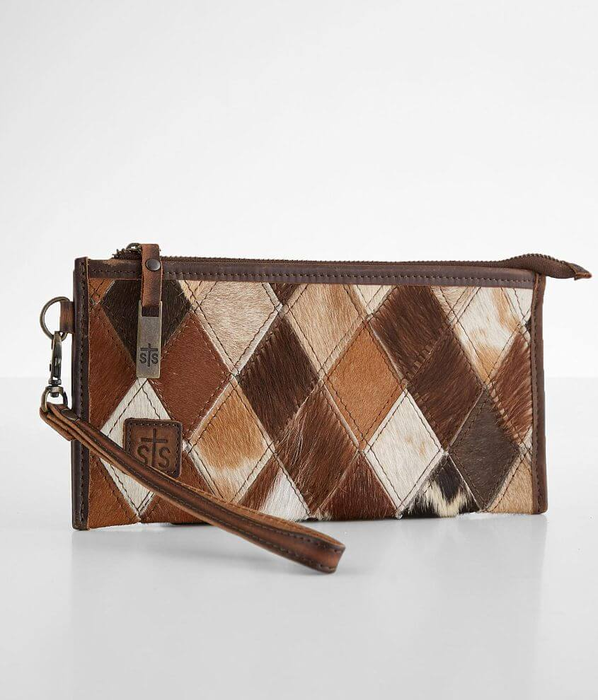 STS Diamond Cowhide Leather Clutch front view