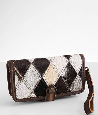STS Diamond Cowhide Leather Crossbody Wallet