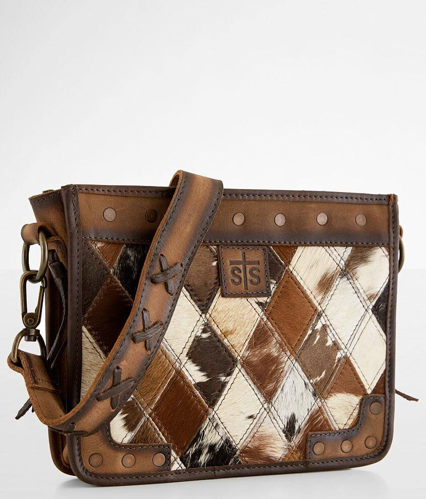 STS Diamond Cowhide Leather Crossbody Purse front view
