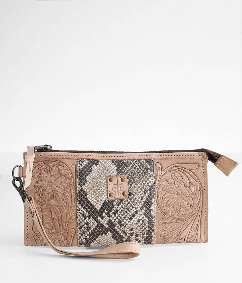 STS Stella Tooled Floral Leather Clutch front view