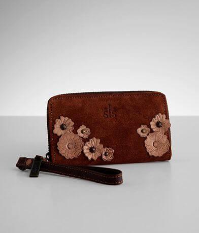 STS Sheridan Flower Leather Wristlet Wallet